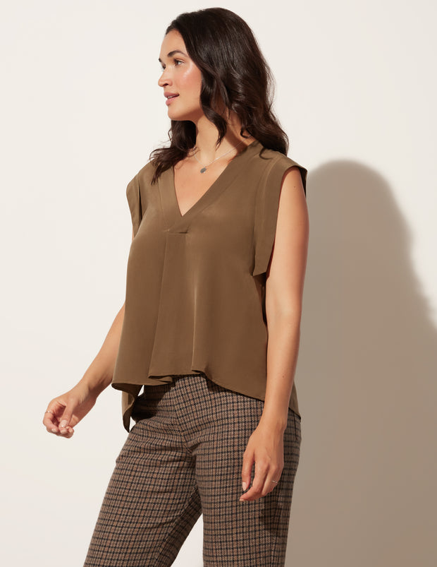 Deep V Pleat Top