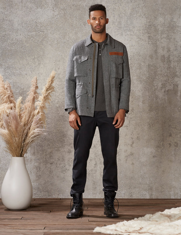 Battalion Jacket in Grey Herringbone