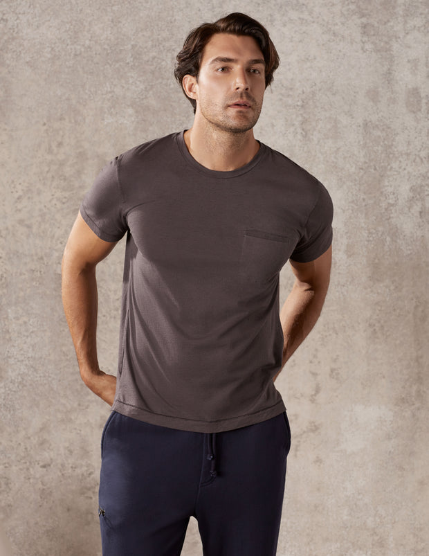 Short Sleeve Pocket T Shirt in Cashmere Jersey
