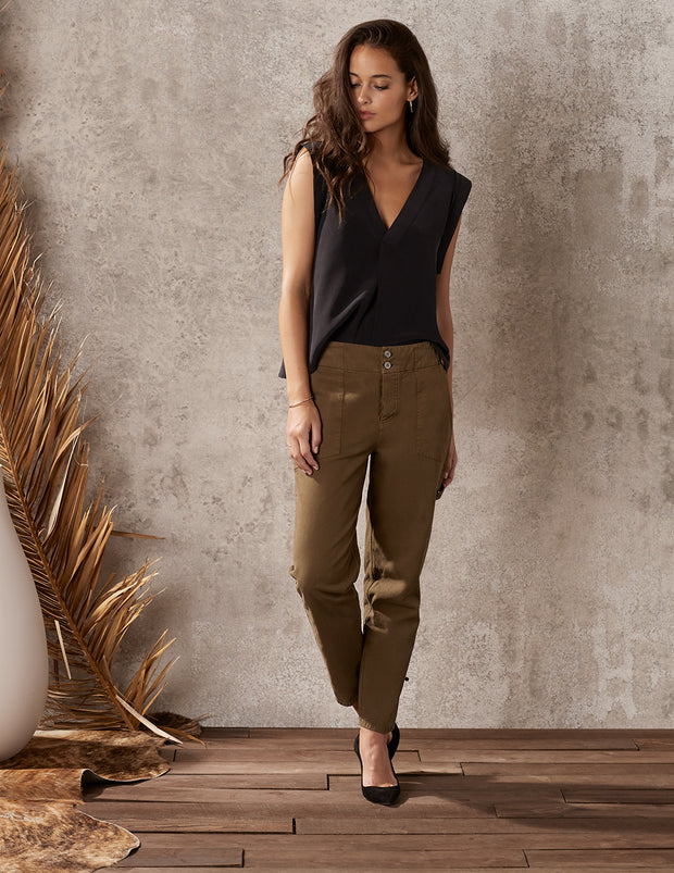 Mood Ring Stonewash Relaxed Crop Cargo Pant