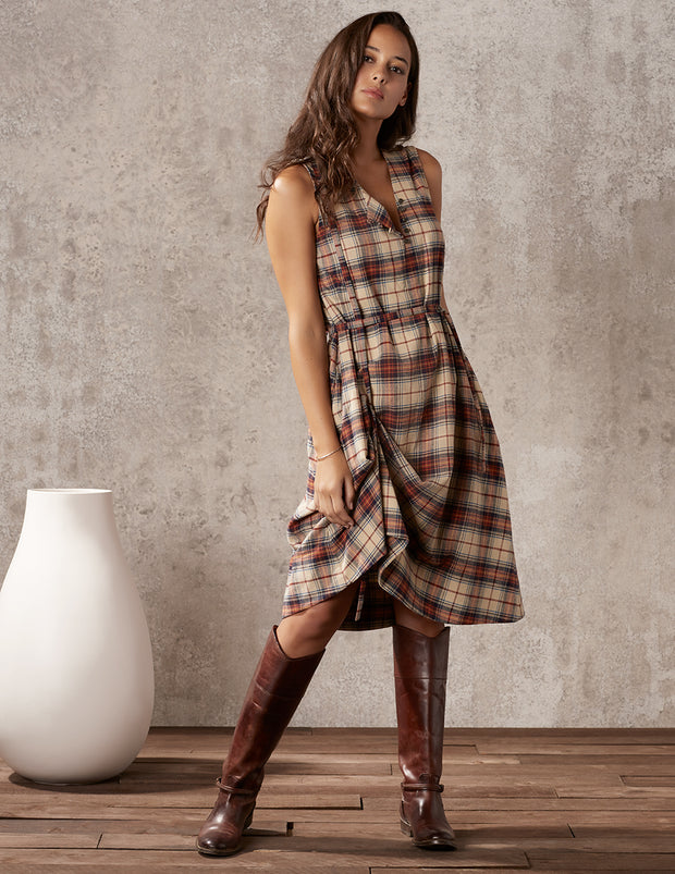 plaid dress with adjustable fit