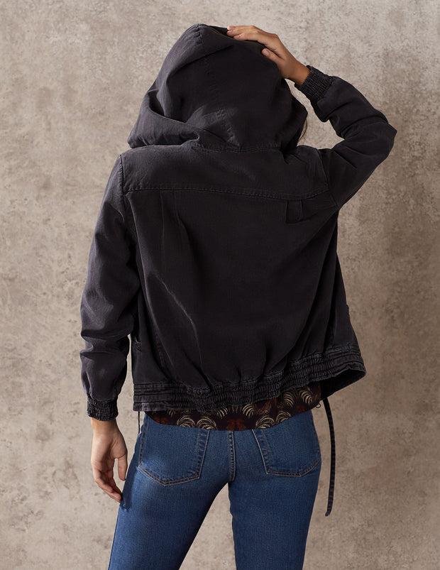 Black Stonewash Boxy Hooded Jacket