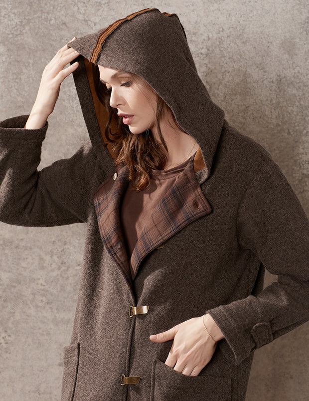 Ladies Rust Hooded Duffle Coat