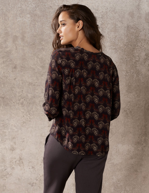 Warm Black Rooster Lantern Sleeve Button Down Top