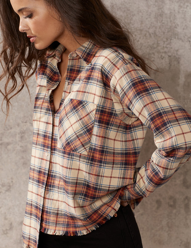Frontier Plaid Oversized Button Down Top