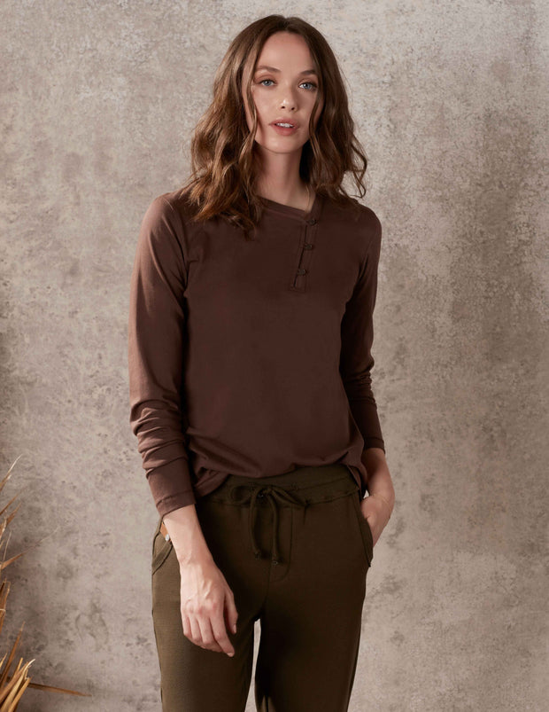 Espresso Split Neck Boxy Top