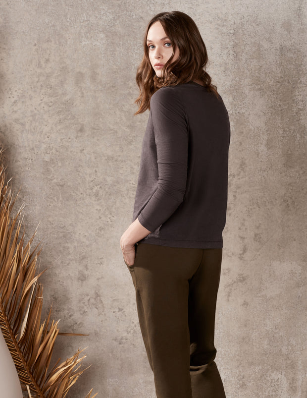 Split Neck Boxy Top in Cashmere Jersey