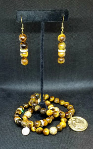 """TIGER EYE BRACELET & EARRING SET"""