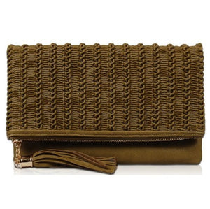 """TEXTURED FOLDOVER CLUTCH"""