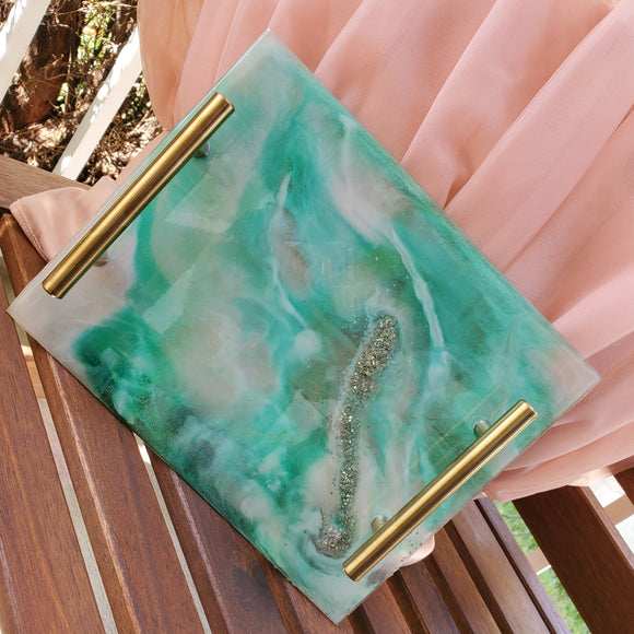 GEODE TRAY - TEAL AND WHITE