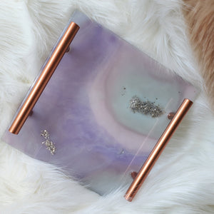 SQUARE GEODE TRAY - PINK AND PURPLE