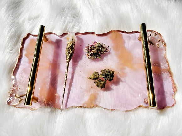 Rose quartz geode rolling tray