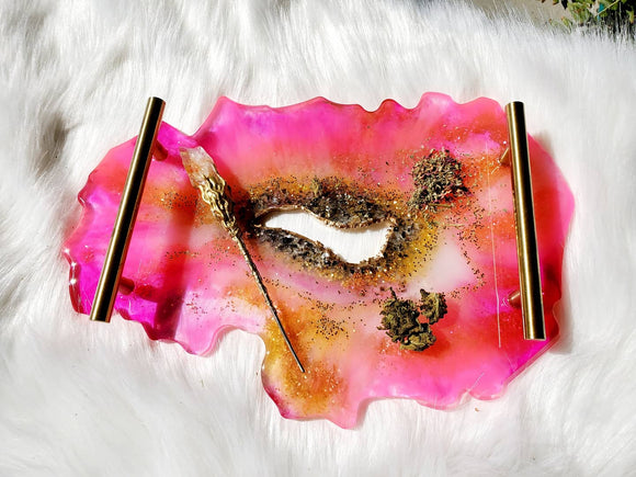 Pink Agate Geode Rolling Tray