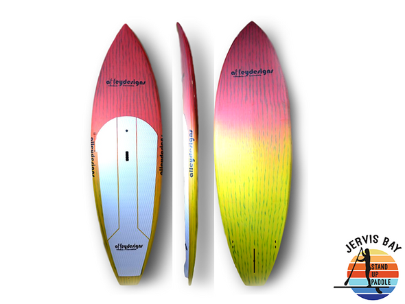 "Alley Design 8'10""x 29""x4.25"" Brushed Carbon Surf Sunrise"
