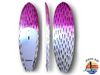 "Alley Designs 8'6""x29.5""x4"" Brushed carbon pink & white surf SUP"