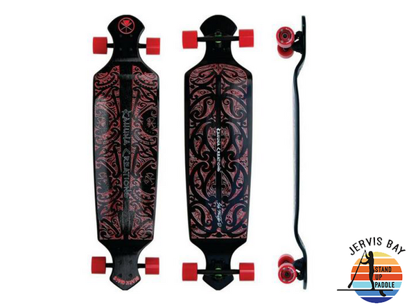 "Kahuna Creations Black Wave (Black) Drop Deck 43"" x 10.5"" x 2.5""  Longboard Complete"