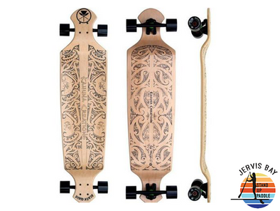 "Kahuna Creations Black Wave (Natural) Drop Deck 43"" x 10.5"" x 2.5""  Longboard Complete"