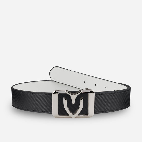V Square Reversible Belt White/Black Carbon