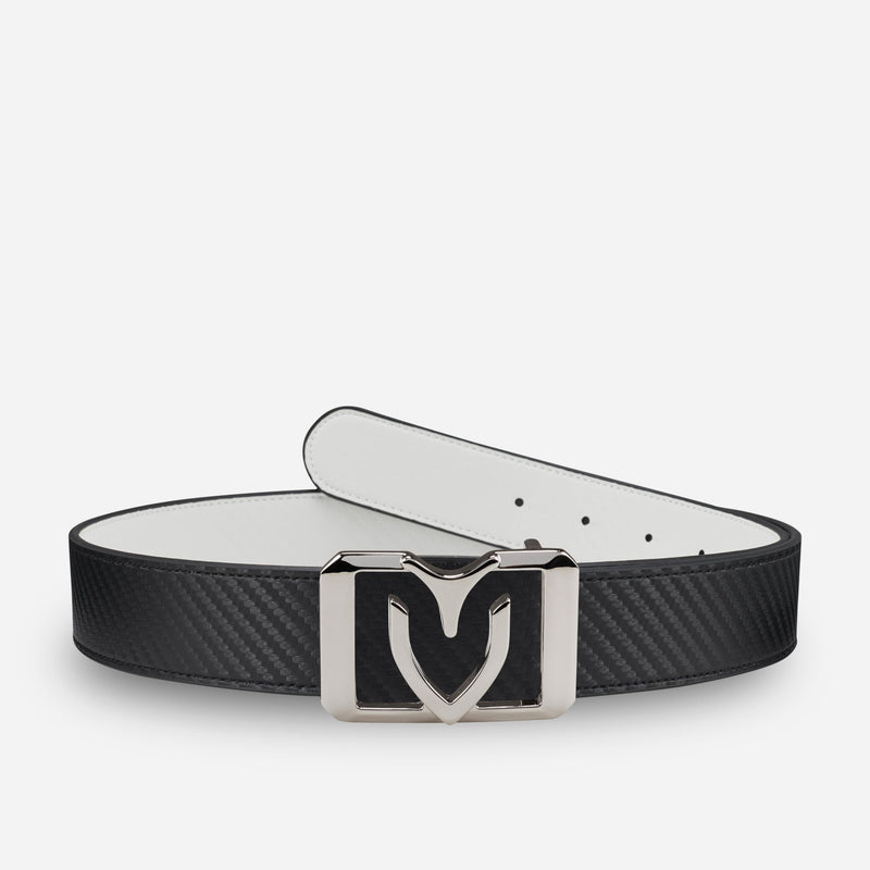 V Rect. Reversible Belt White/Black Carbon