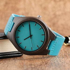 Fashion Wood Blue Watch