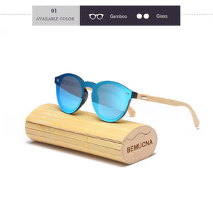 New Round Top bamboo sunglasses