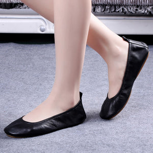 100% Genuine Leather Foldable Flat Shoes