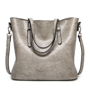 Fashion Women Handbag PU Oil Wax Leather