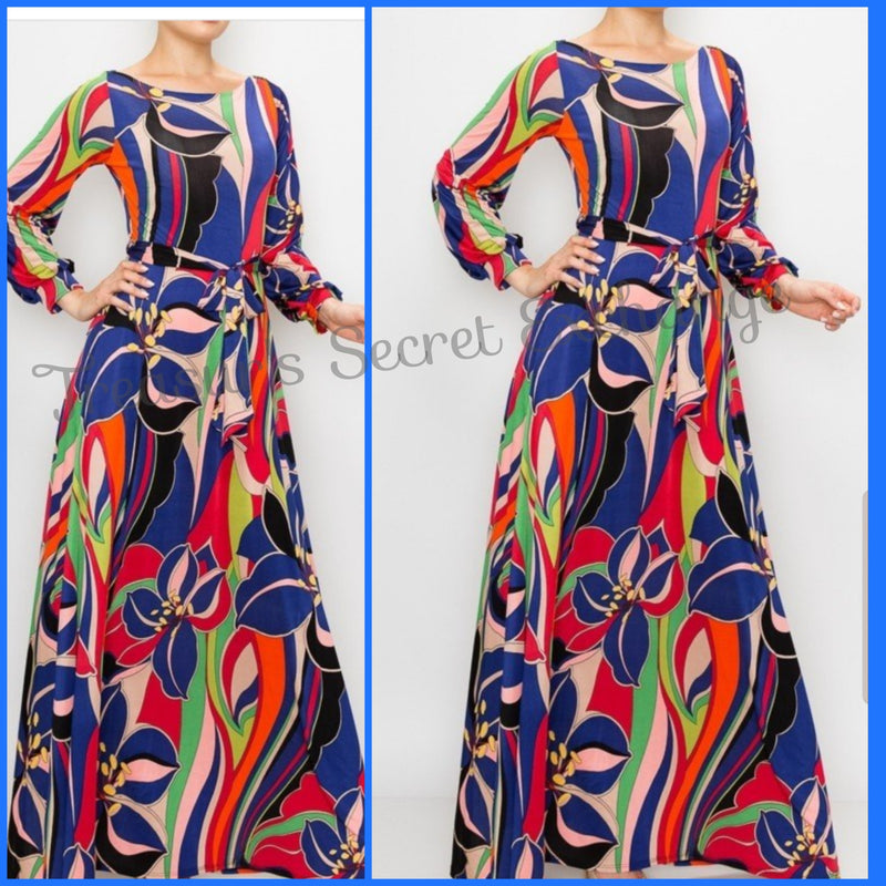 """Fran"" Multi-Swirl Maxi Dress"