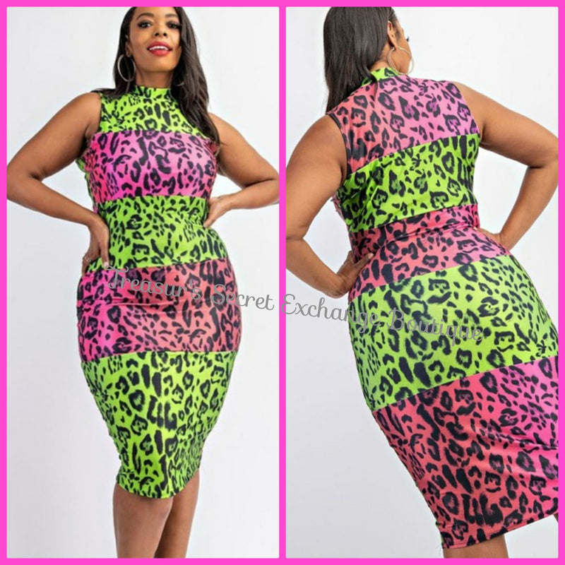 Pebbles Pink & Green Bodycon Dress
