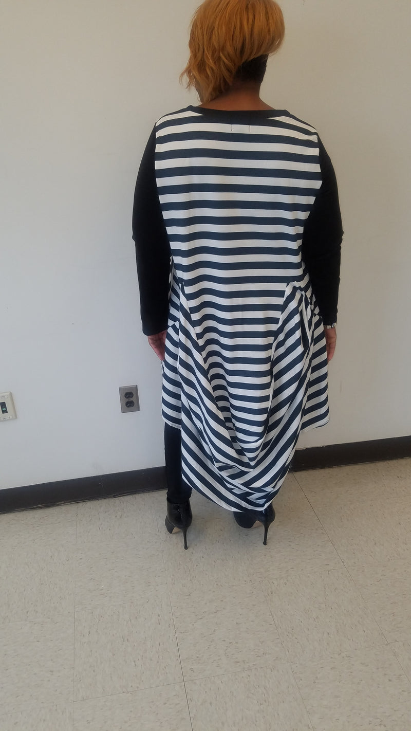 Black & White Stripe Drape Top/Dress