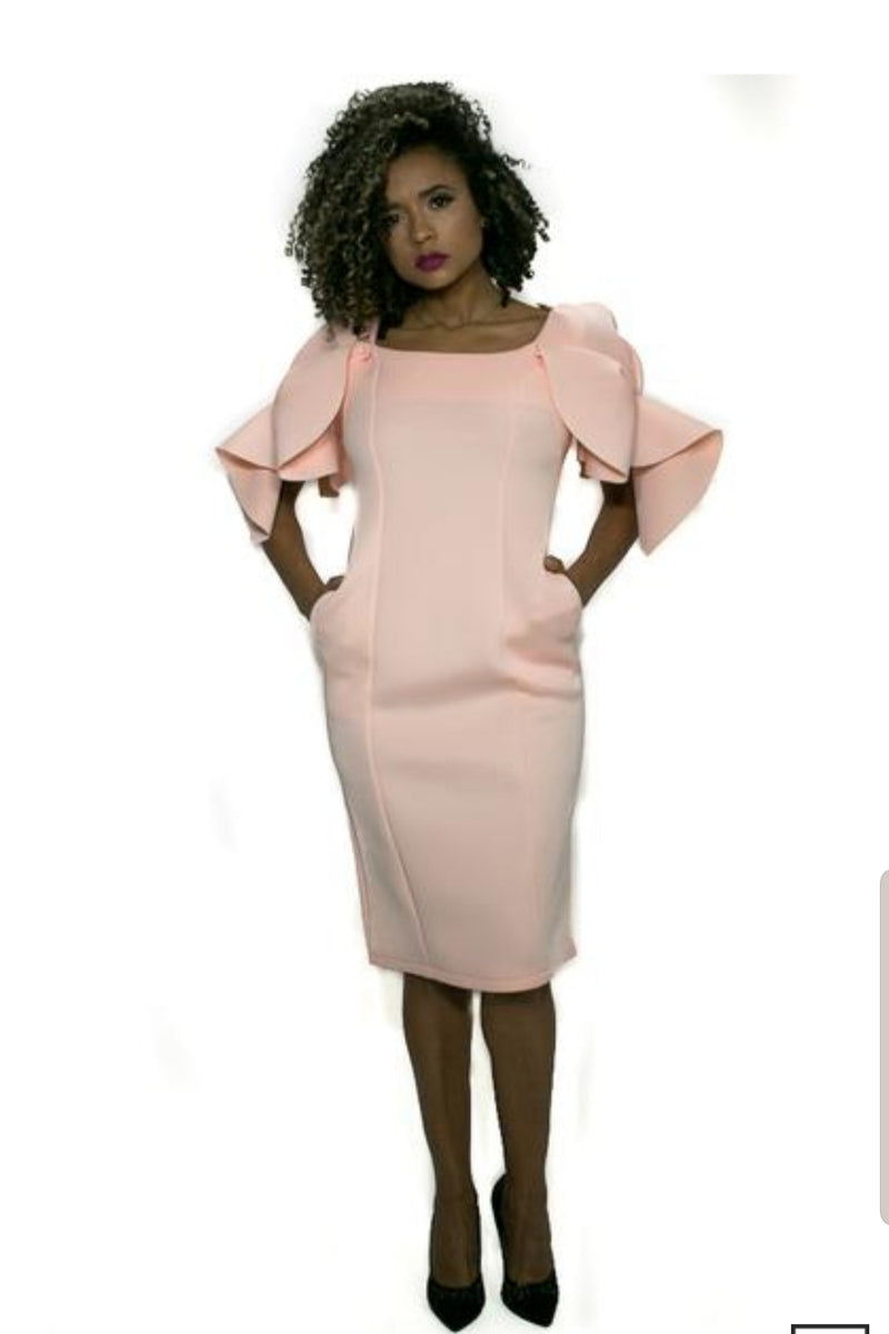 """Mhara"" Flare Sleeve Dress"