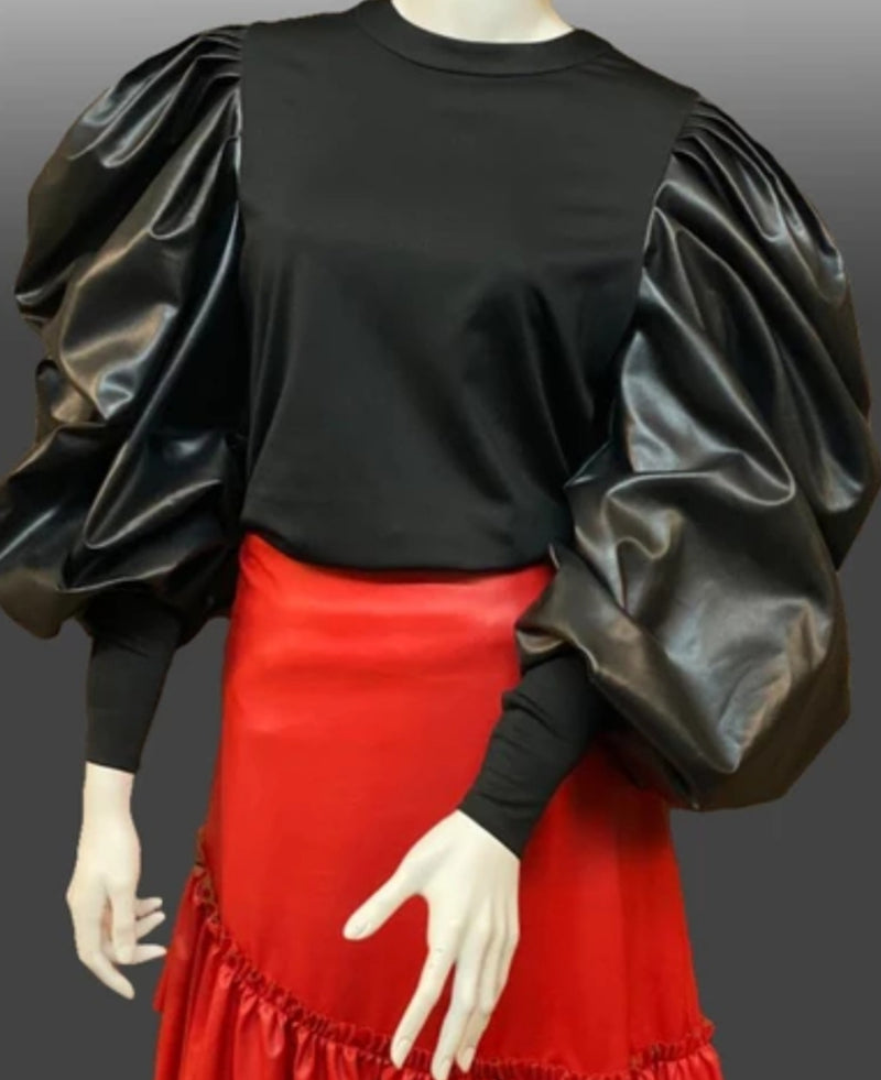 Faux-Leather Puff Sleeve Top