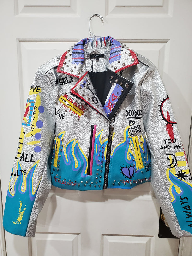 "Silver Multi-Color ""Strength"" Stud Jacket"