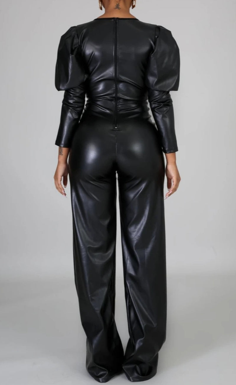Faux-Leather Body-Fit Flare Jumpsuit