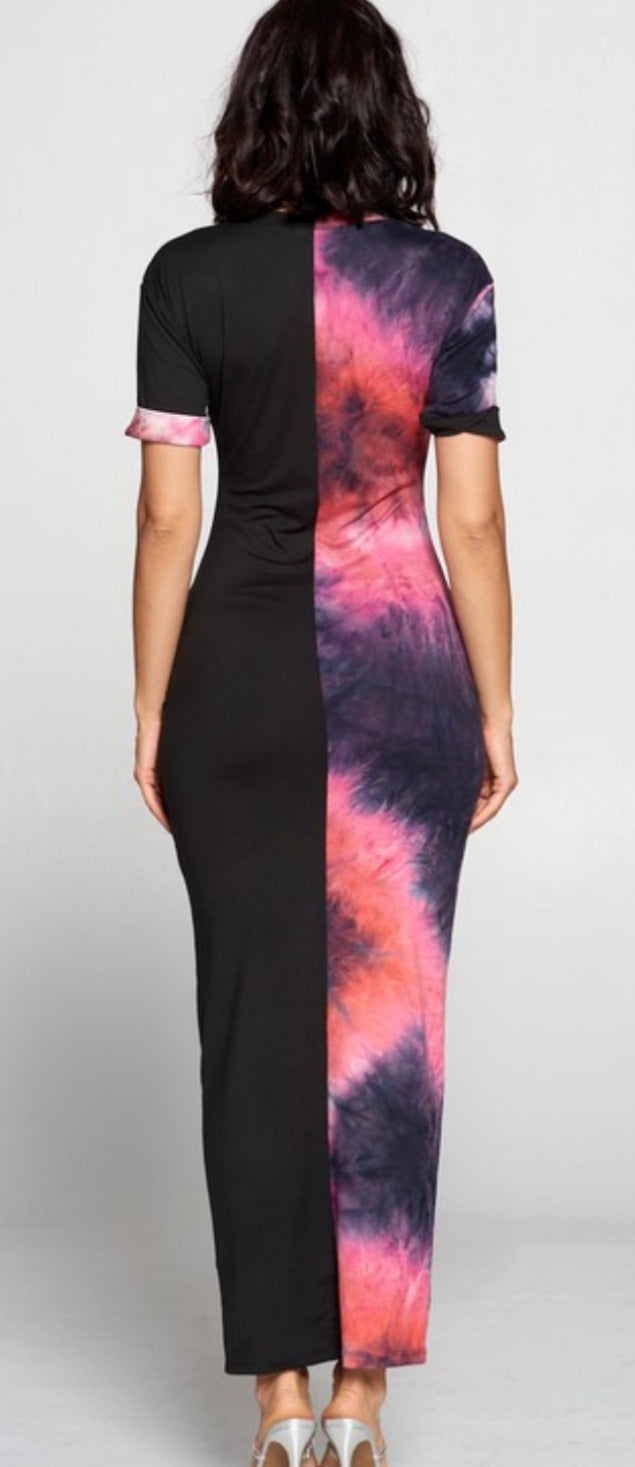 "Two-Side ""Tye-Dye "" Pink/Black Maxi Dress"
