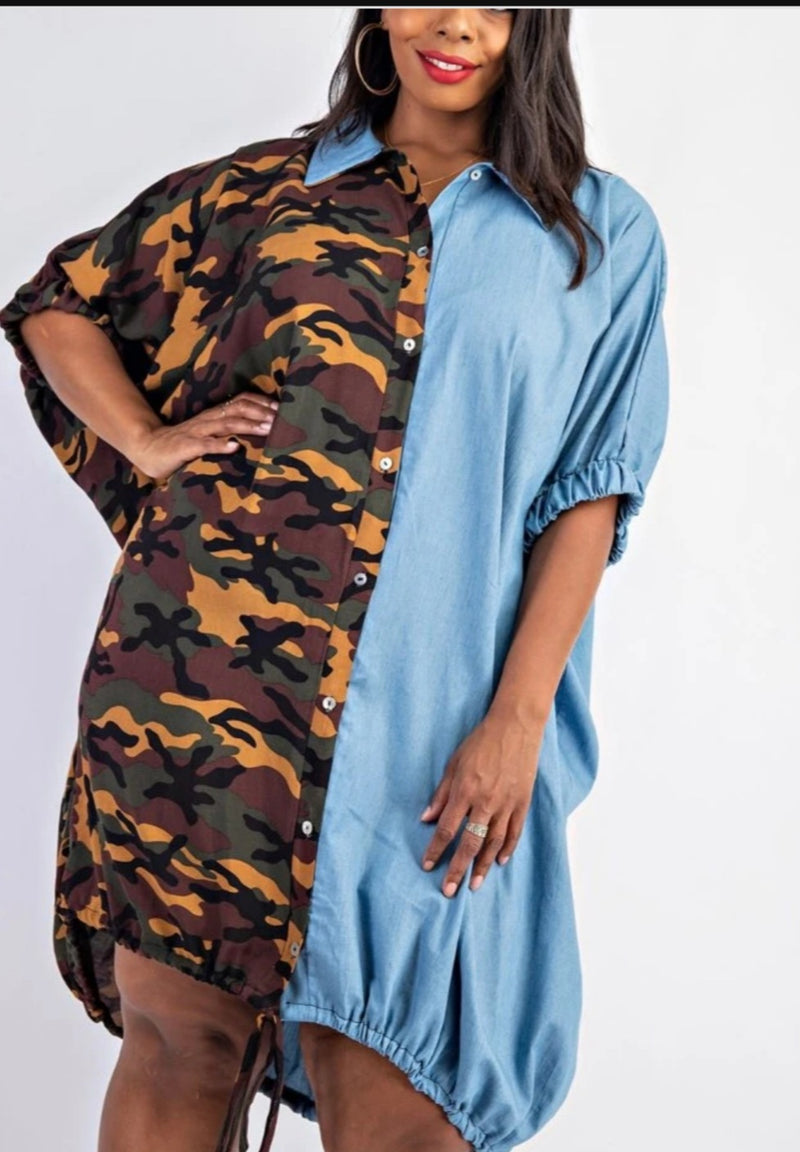 Camo-Denim Mix Dress/Top