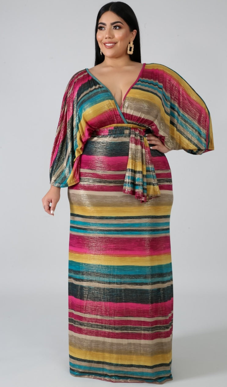 """Tana"" Stripe Sparkle Maxi-Dress w/Headwrap"