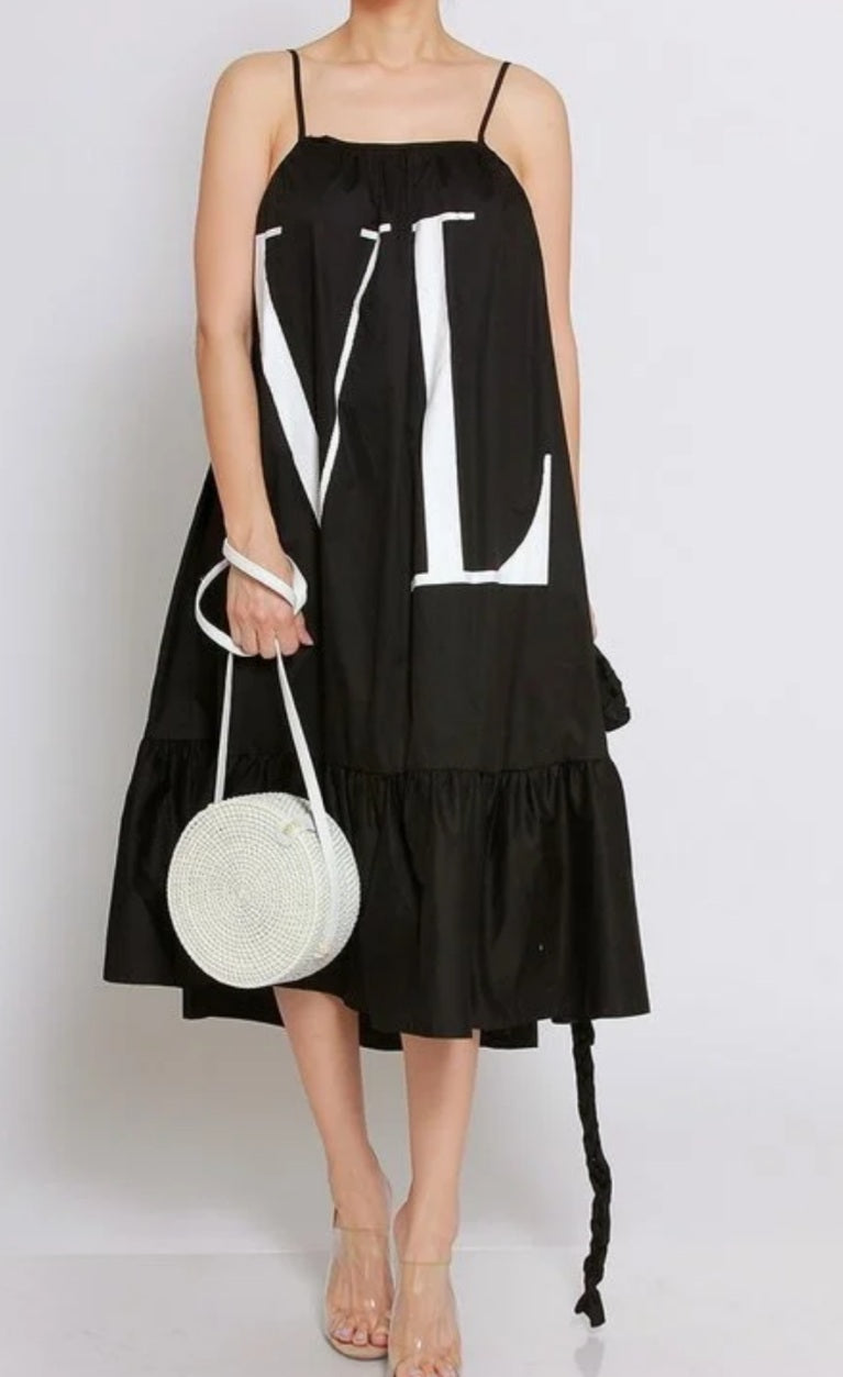 "Black & White ""LV"" Easy Flow Dress"