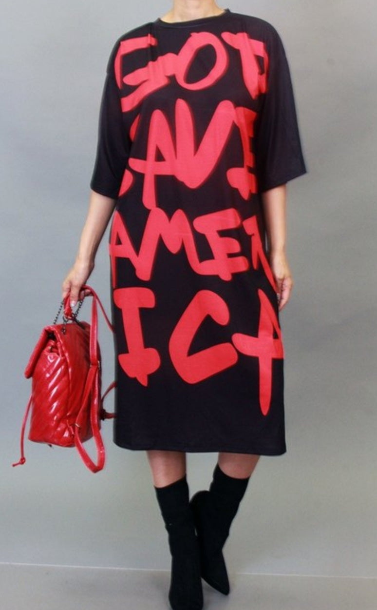 """GOD"" SAVE AMERICA T-Shirt Dress"