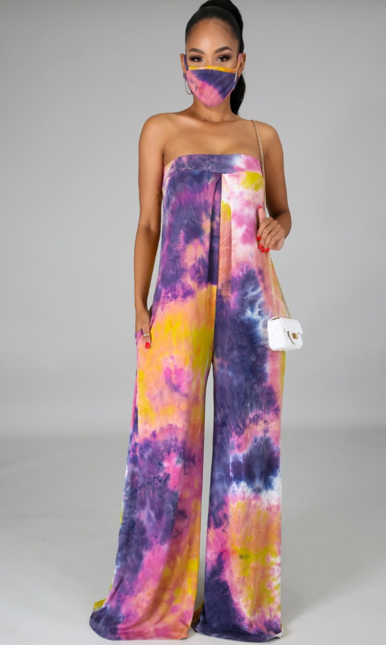 "Obsession "" Purple Tye-Dye"" Jumpsuit w/Mask"