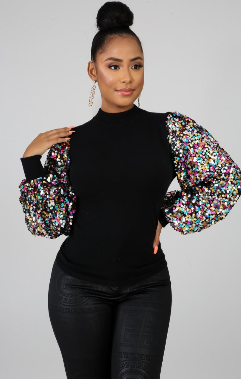 "Black ""SHIMMER"" Sleeve Top"