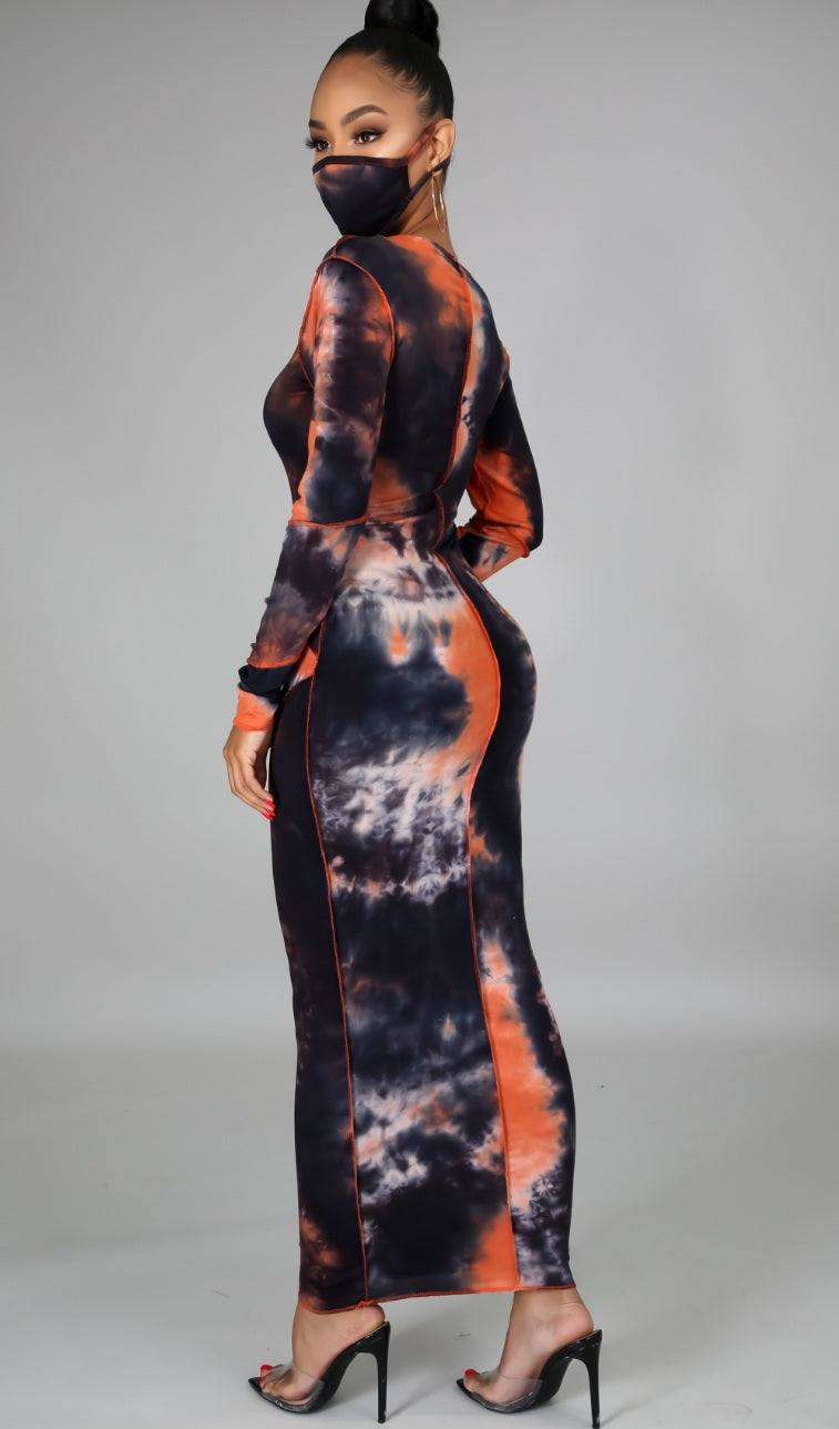 "Ride-Out ""Orange ""Tye-Dye"" Maxi Dress w/Mask"