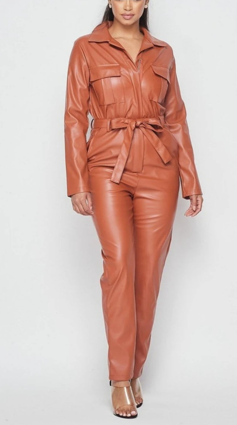 """Pretty Chic"" Faux-Leather Jumpsuit"