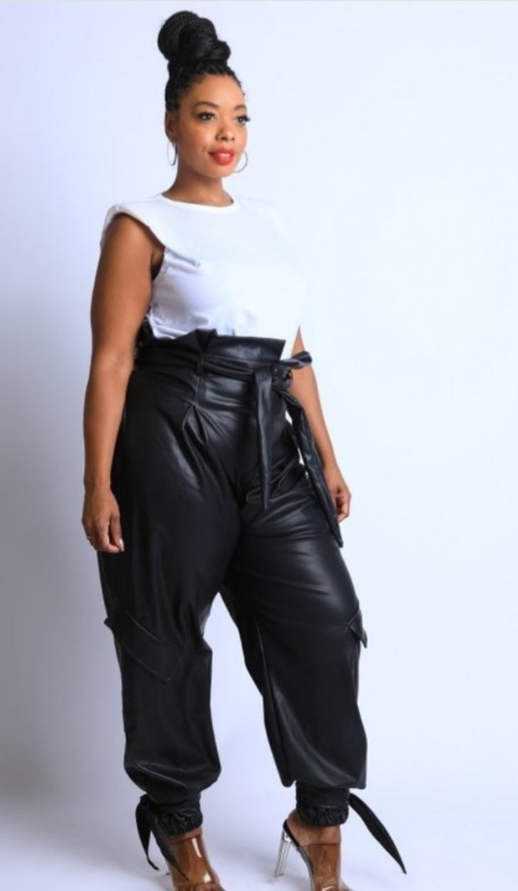 BLK  JOGGER VEGAN LEATHER PANTS