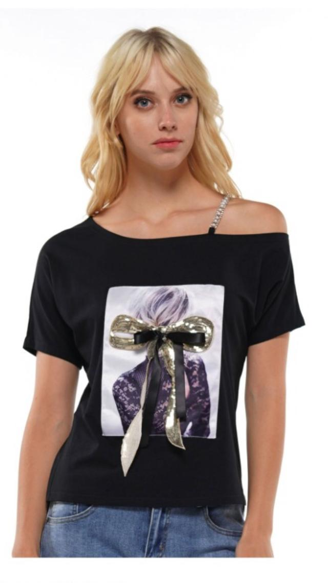 Pearl-Bling Cold Shoulder  Bow-Tie Top