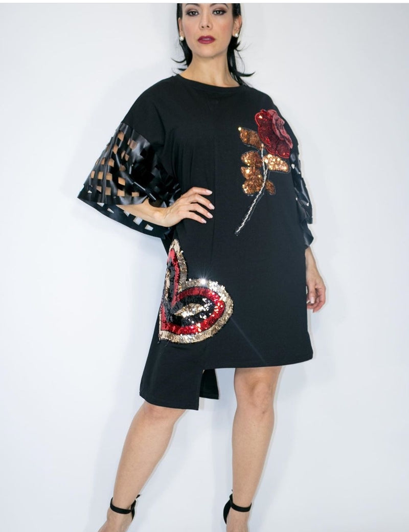 Sequin Flower/Heart Blk Top-Dress( Faux-Leather Sleeve)