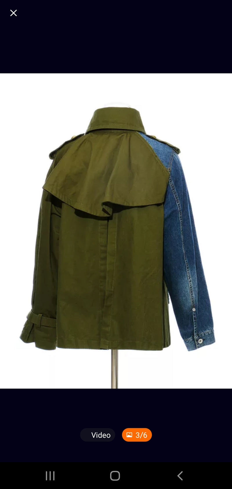 "Olive Denim ""Half"" Trench Jacket"