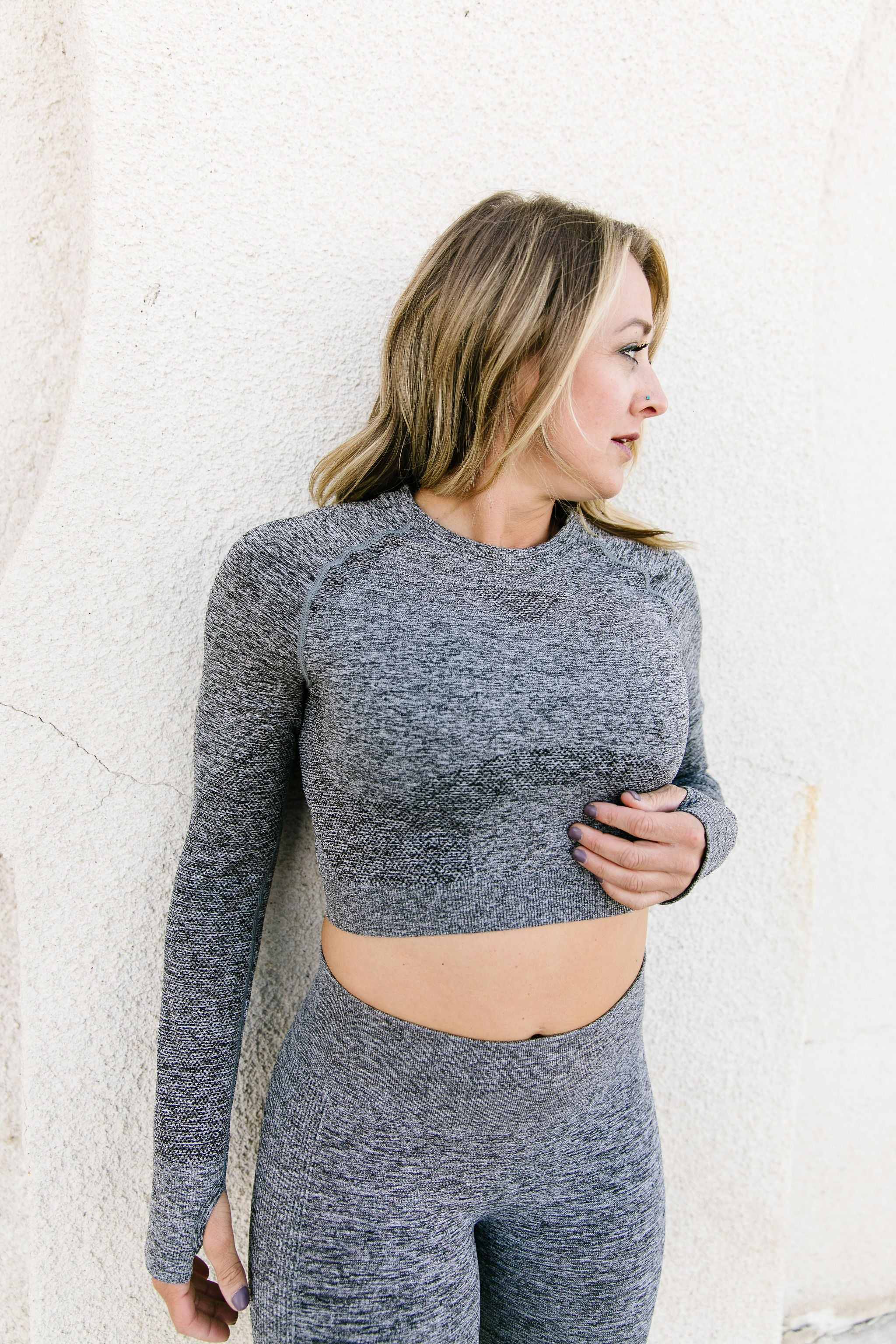Seamless Hybrid Long Sleeve Crop Active Top