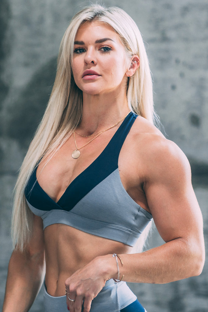 ENCE Training Sports Bra- Grey/ Navy