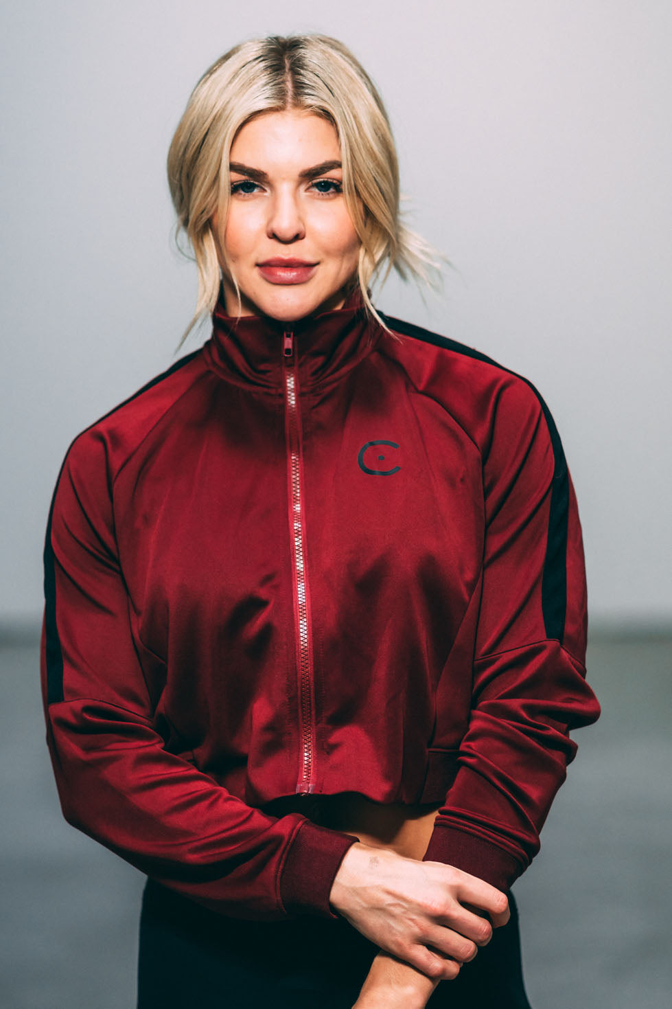 Track Jacket - Burgundy/Black